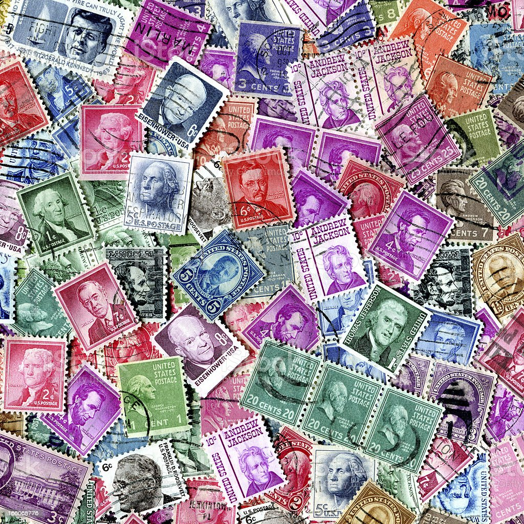 Presidents Of The USA Stamp Background XXXL stock photo