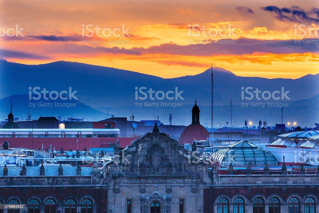 President's Palace Sunrise Zocalo Mexico City Mexico stock photo