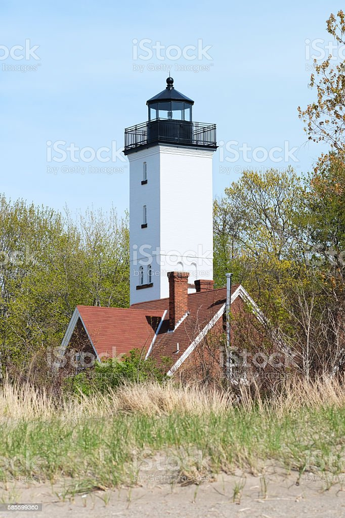 Presque Isle lighthouse, built in 1872 stock photo