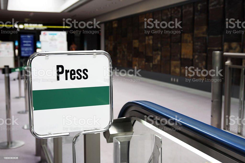 Drücken Sie die Taste Bereich Flughafen Lizenzfreies stock-foto