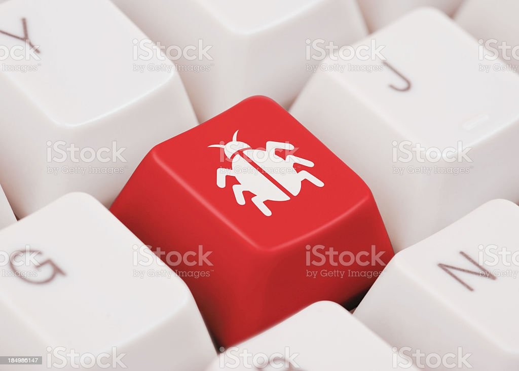 Press at your own risk, VIRUS button stock photo