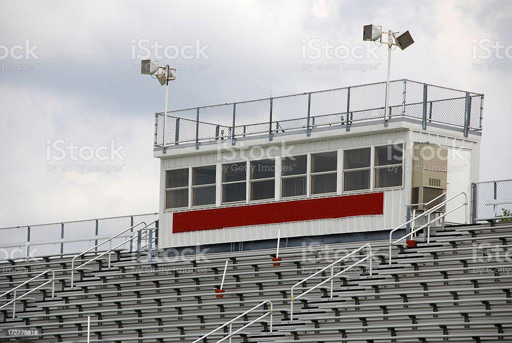 Press Box at High School Football Stadium stock photo