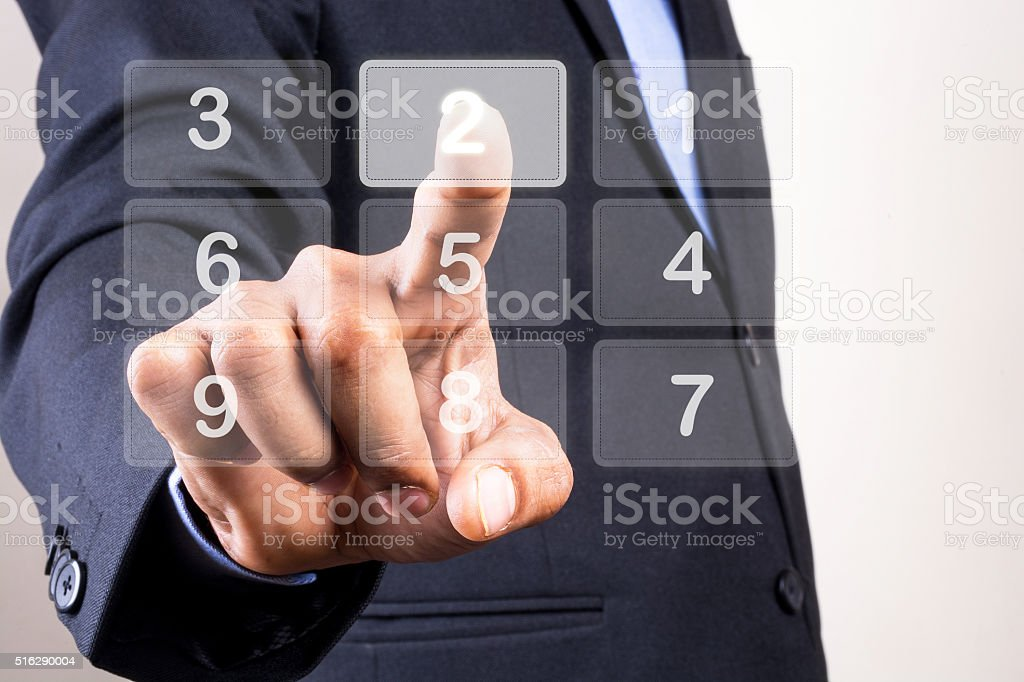 Press button / Touchscreen concept Dialing Number stock photo