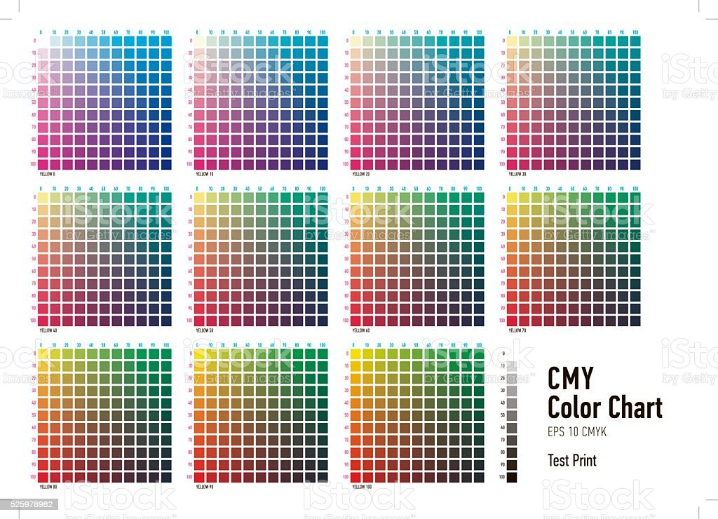 CMYK Press Color Chart stock photo