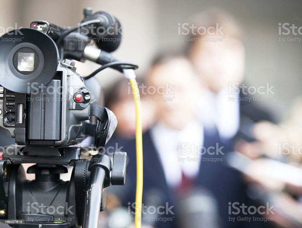 Press conference for event with camera stock photo