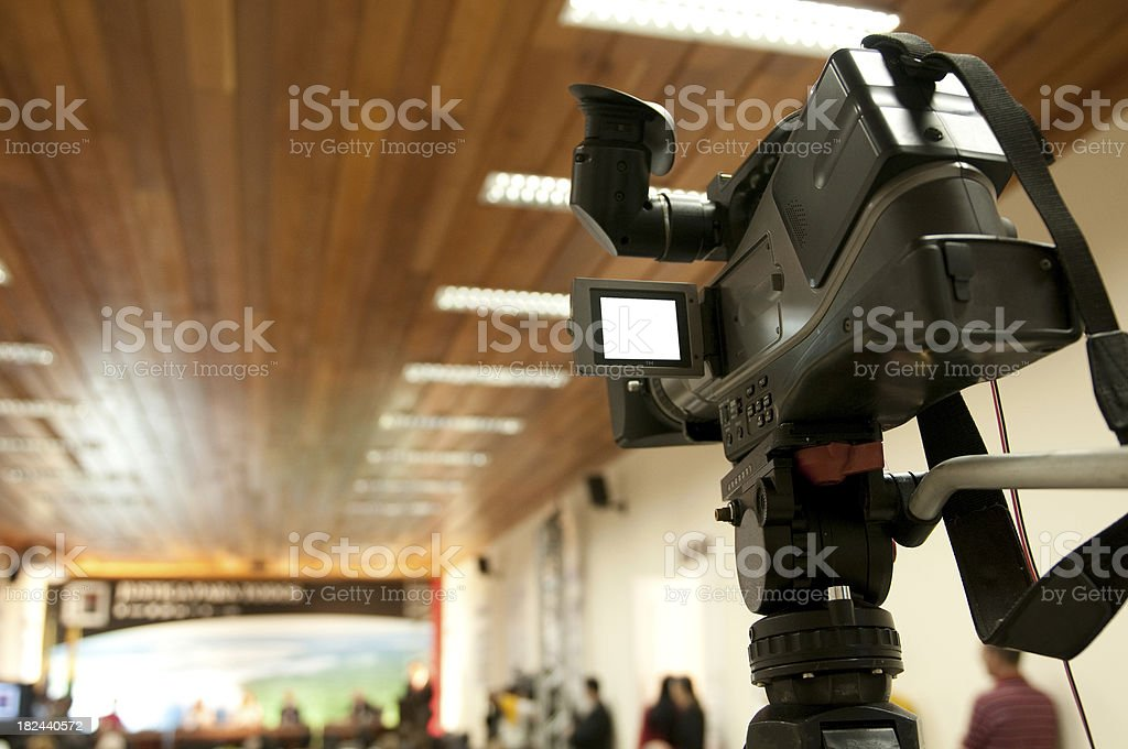 Press conference hall stock photo