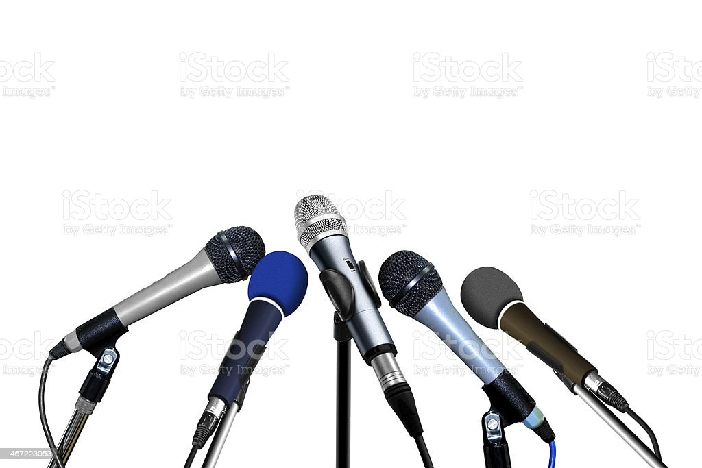 Press Conference Microphones over White stock photo