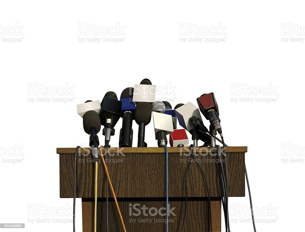 Press Conference Microphones stock photo