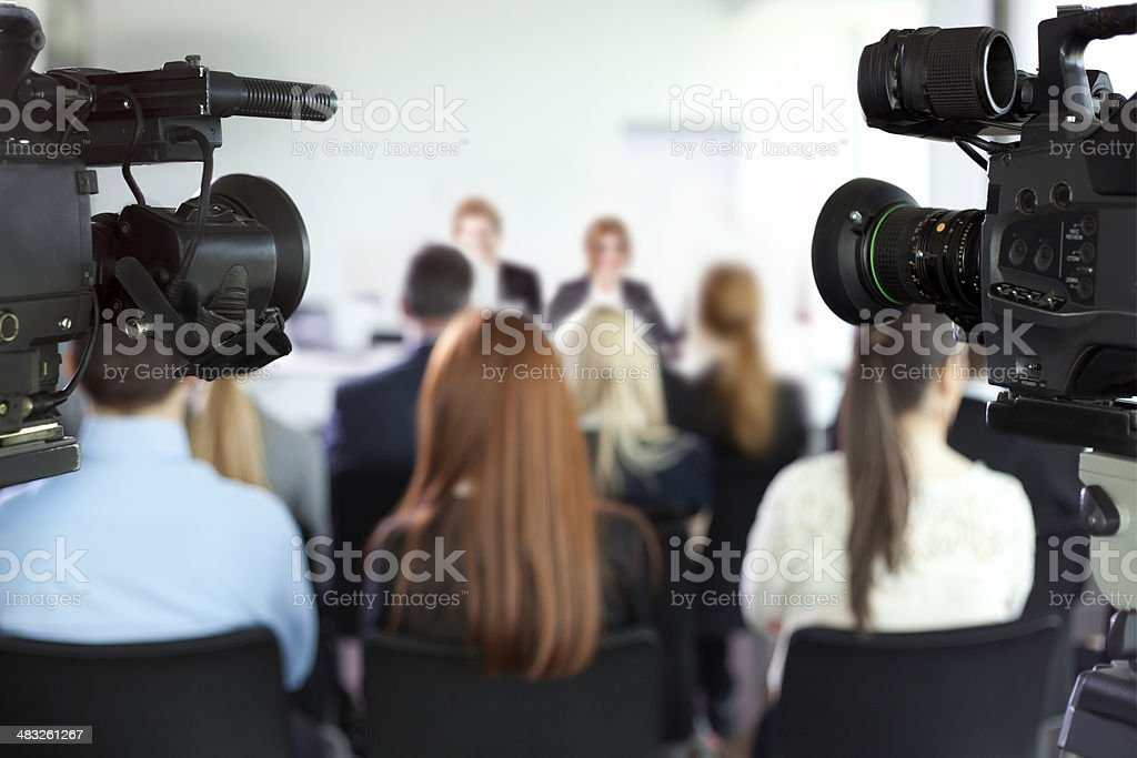 Press conference. stock photo