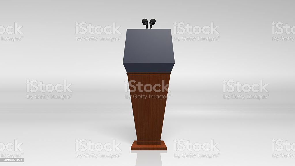 Press conference podium stand stock photo