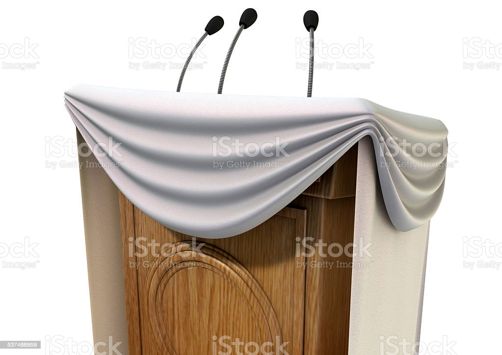 Press Conference Podium With Draping stock photo