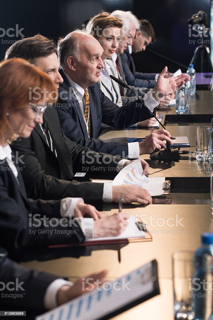 Press conference with politicians stock photo