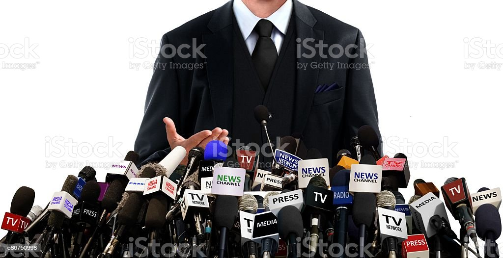 Press conference with the media stock photo