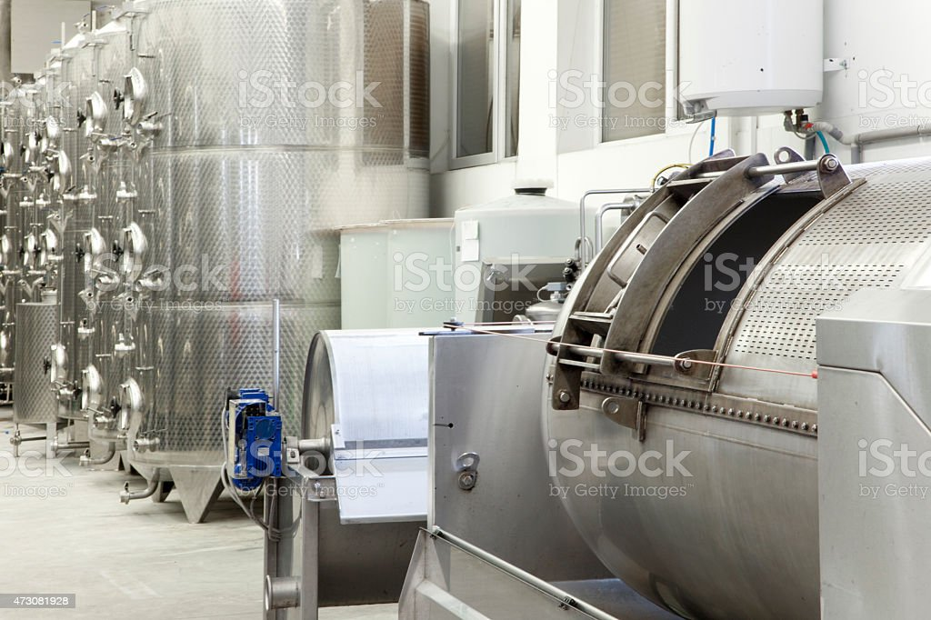 Press for the grape in winery stock photo