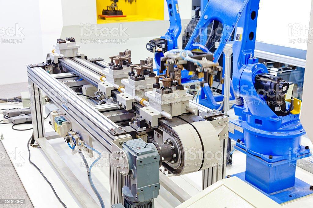 Press handling robot stock photo