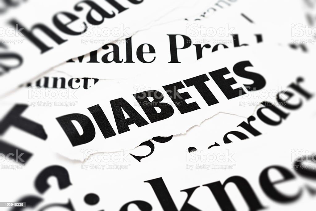 Press headlines concerned with Diabetes stock photo