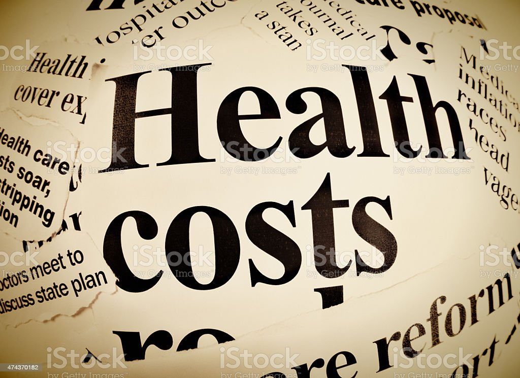 Press headlines dealing with aspects of health care, particularly costs stock photo
