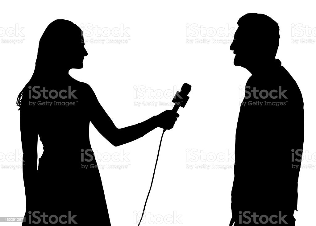 Press Interview Conducted by Woman Interviewer royalty-free stock photo