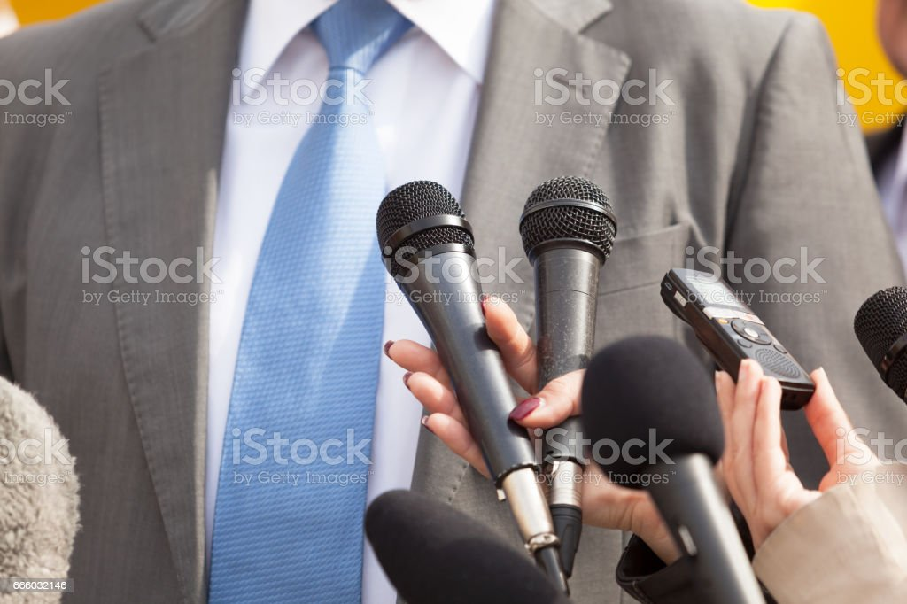 Press interview. News conference. stock photo