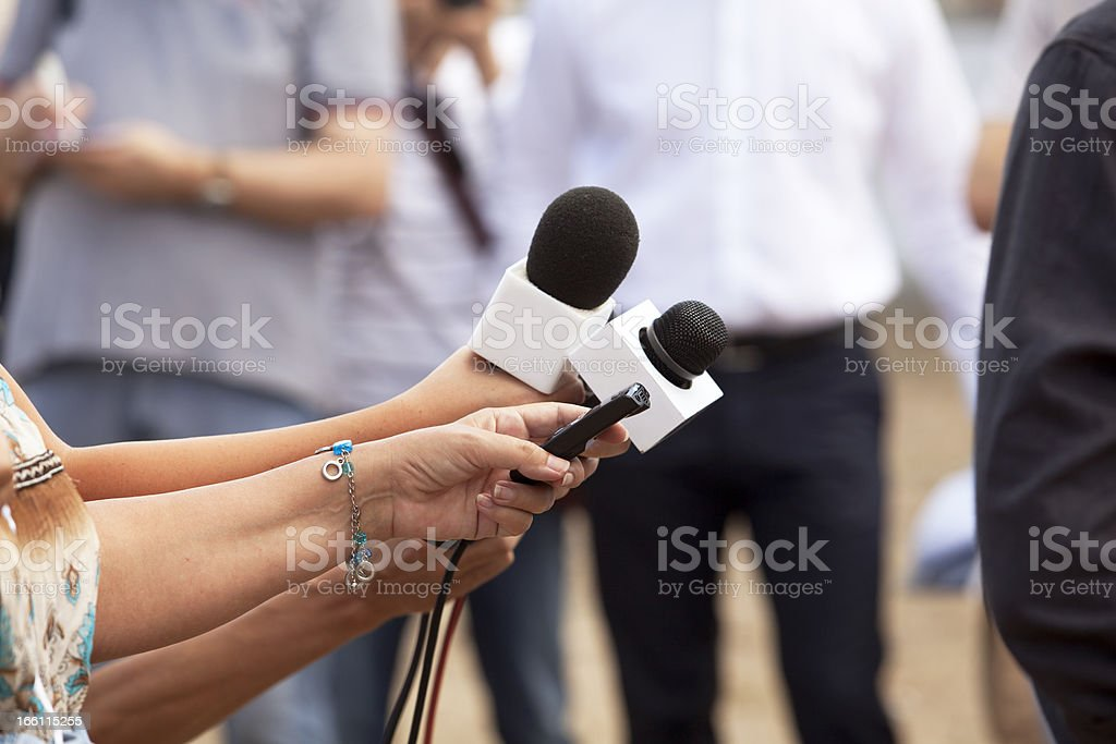 Press interview royalty-free stock photo