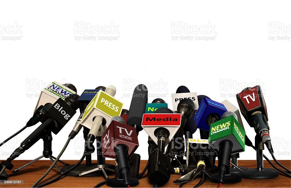 Press Media Conference Microphones stock photo