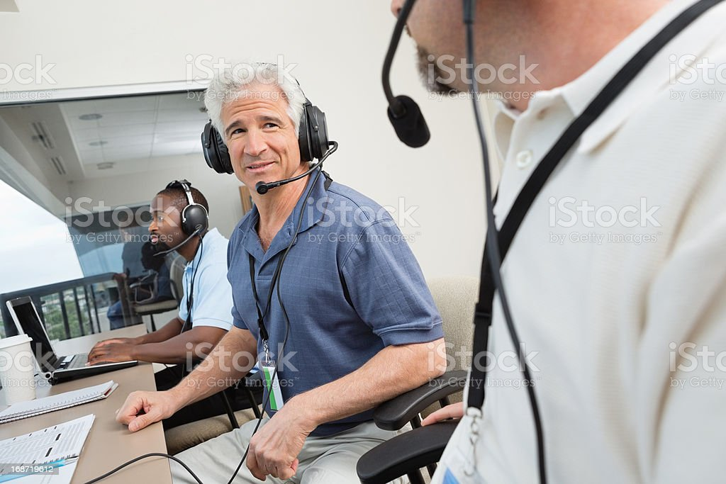 Press media talking about the game at sporting event stock photo