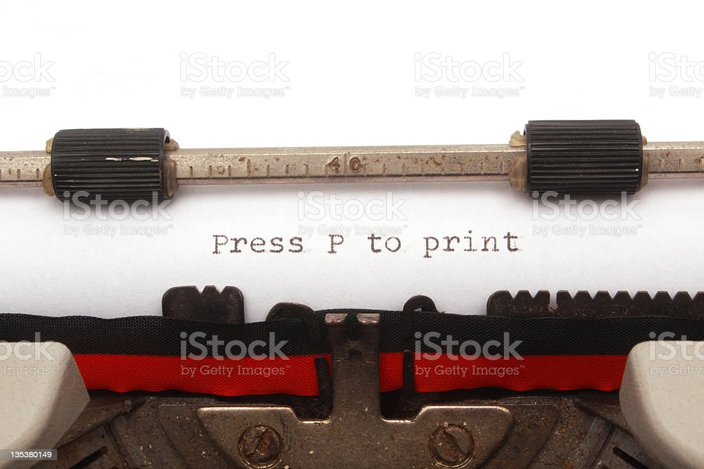 Press P to print written in a typewriter royalty-free stock photo