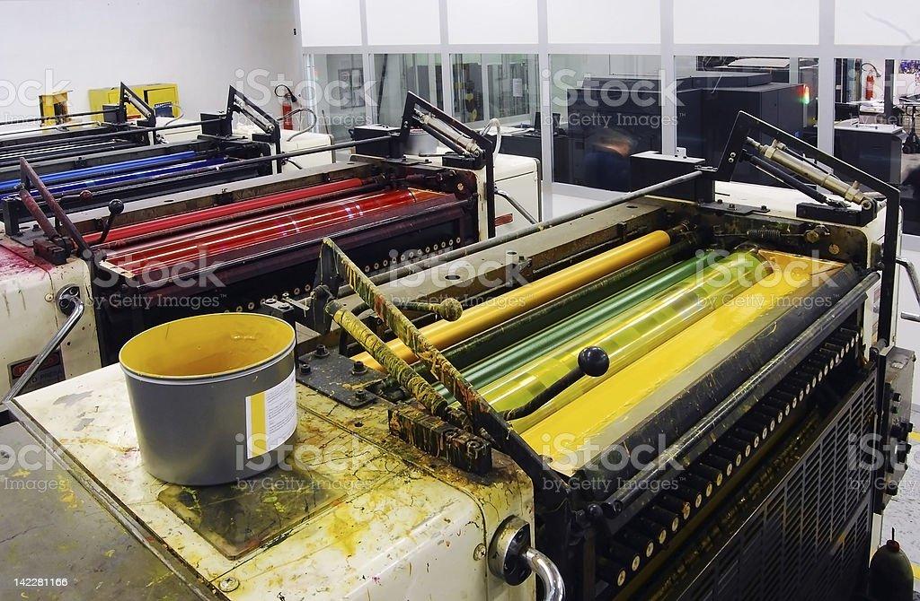 Press printing - Offset machine stock photo
