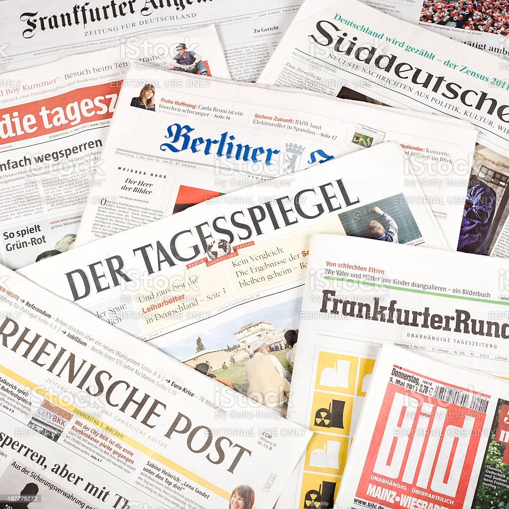 Press review, german newspapers stock photo
