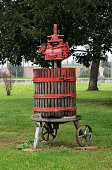 Press the grapes for wine production.
