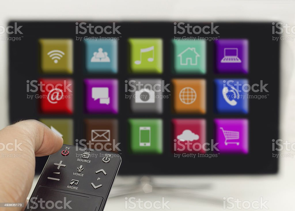 press the on/off button, smart tv with apps stock photo