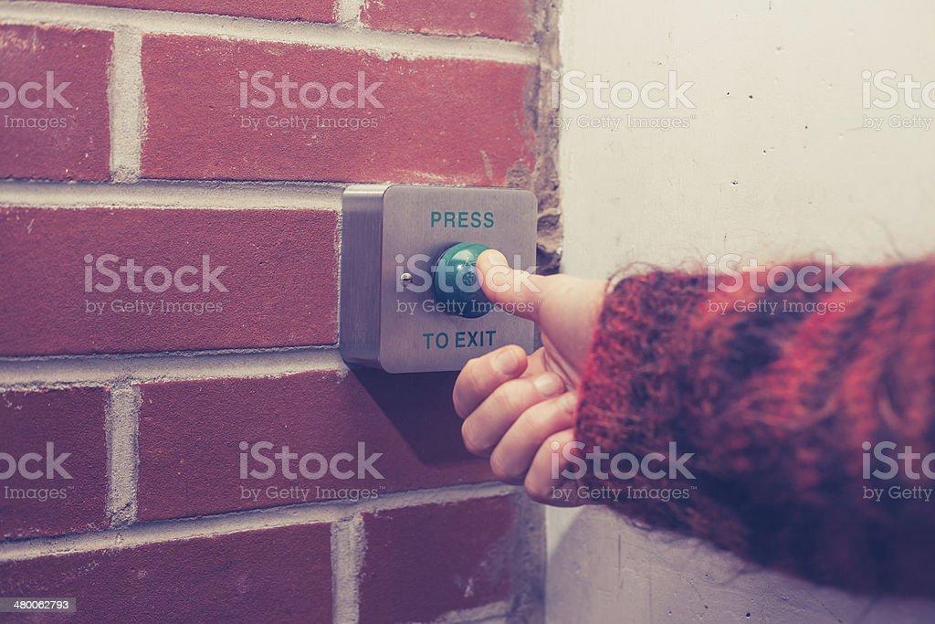 Press to exit stock photo