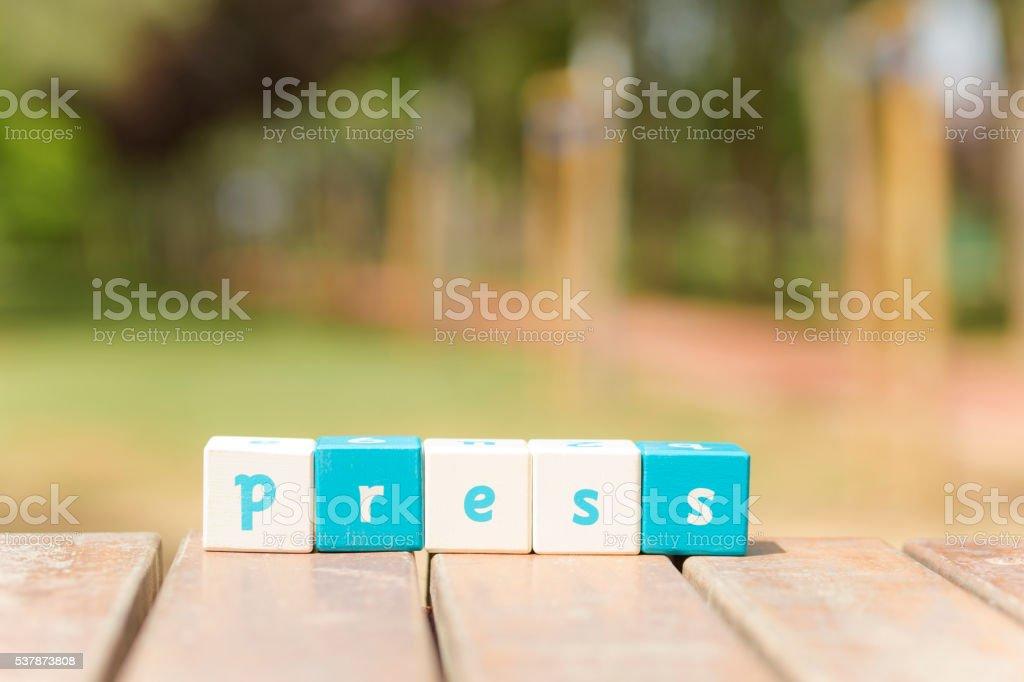 Press, word stock photo