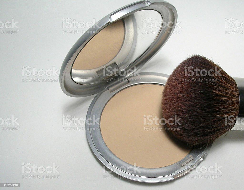 Pressed powder with brush royalty-free stock photo