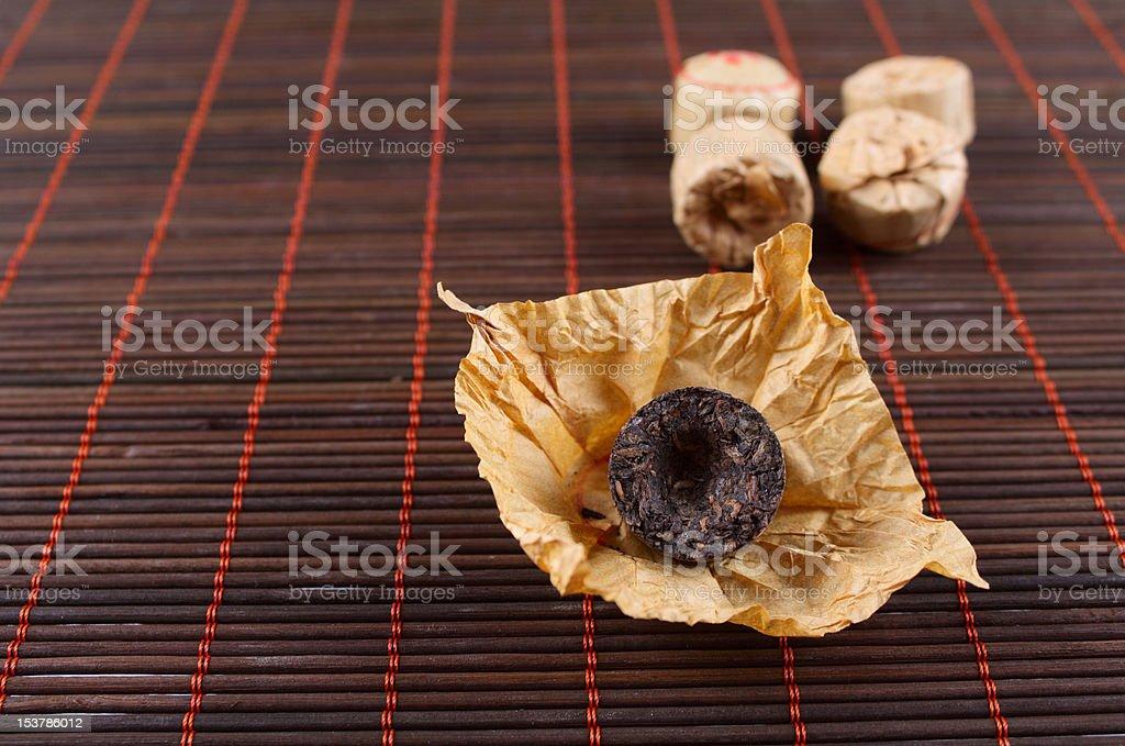 Naciśnięty herbaty na Bambus Serwetka zbiór zdjęć royalty-free