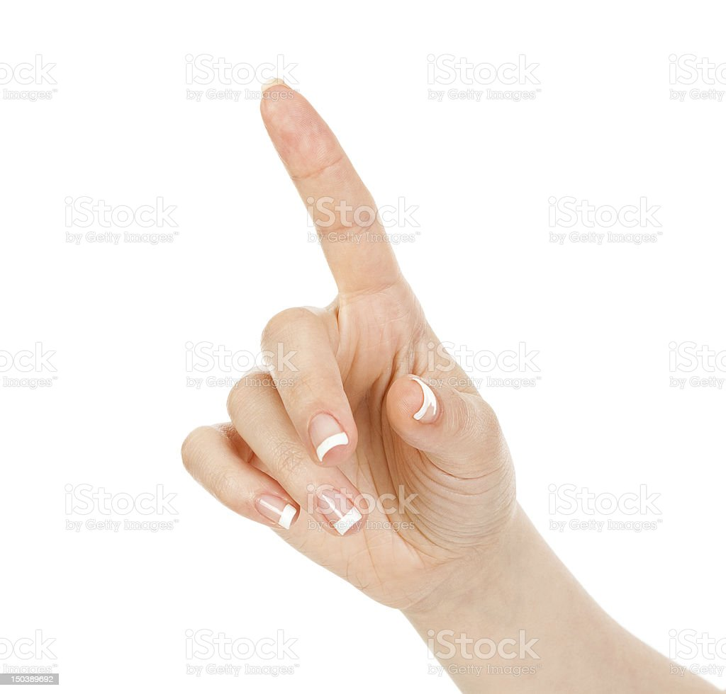 Presses a forefinger royalty-free stock photo