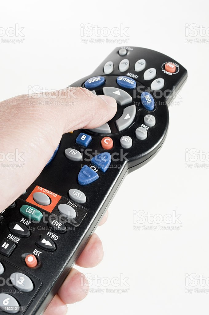 Pressing a Remote Control royalty-free stock photo