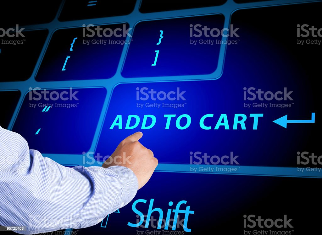 Pressing add to cart key stock photo