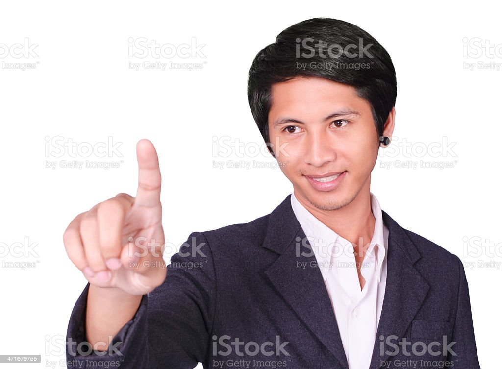 Pressing an imaginary button royalty-free stock photo