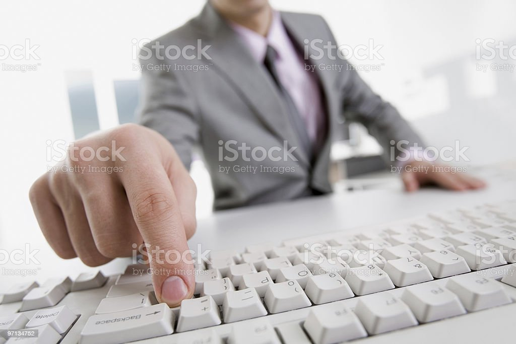 Pressing button royalty-free stock photo