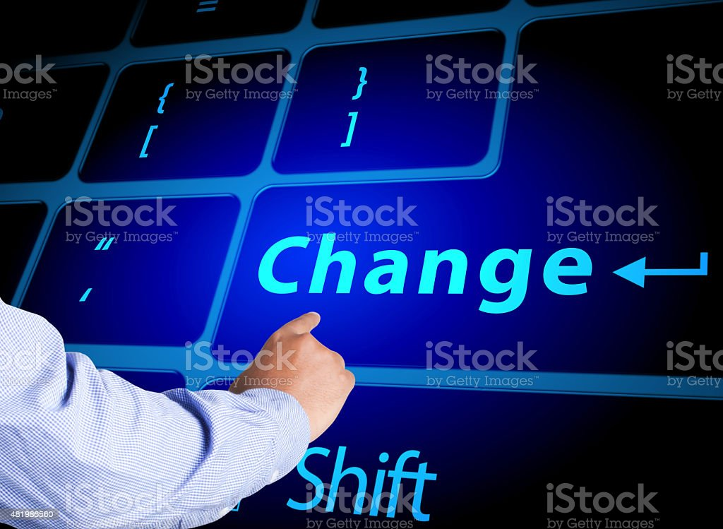Pressing change button on computer keyboard stock photo