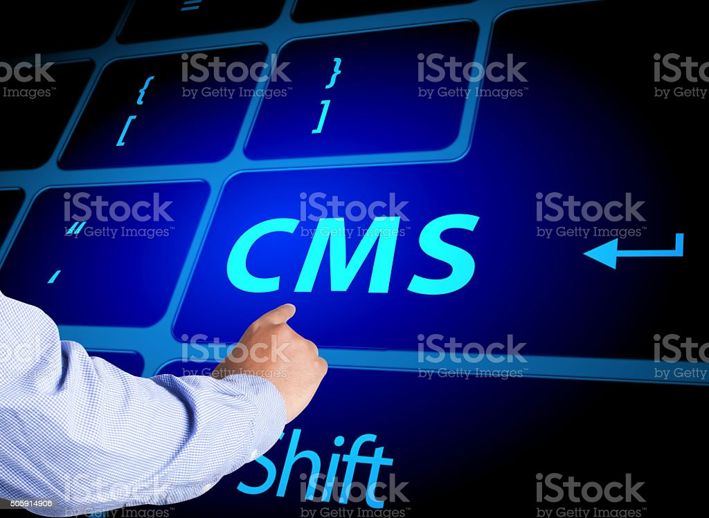 Pressing CMS button on computer keyboard stock photo