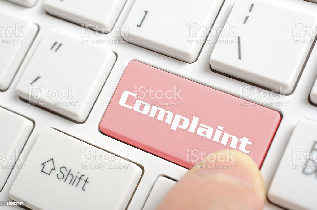 Pressing complaint key stock photo