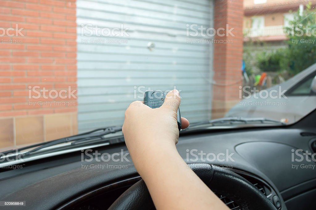pressing control from the car stock photo