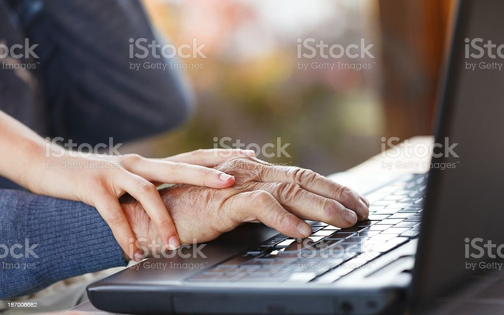 Pressing down together the keys royalty-free stock photo