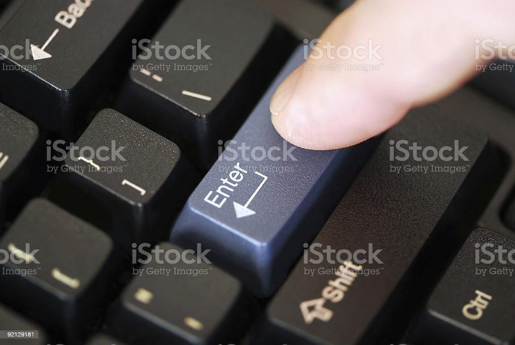 Pressing enter key stock photo