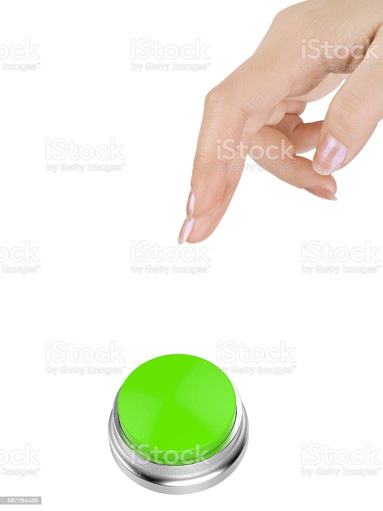 Pressing GO button stock photo