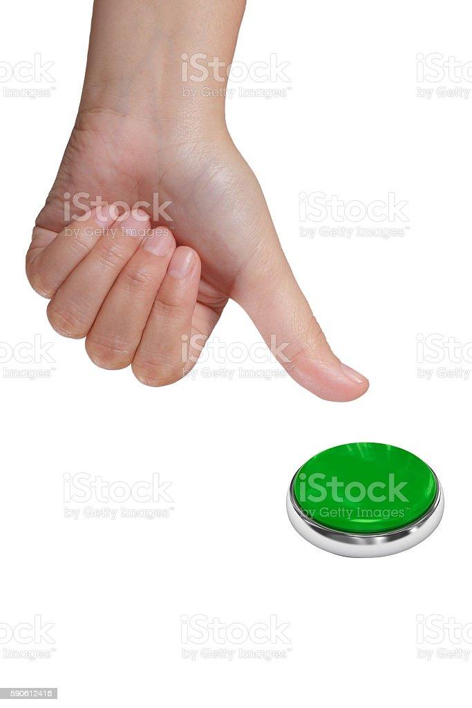 Pressing green button stock photo