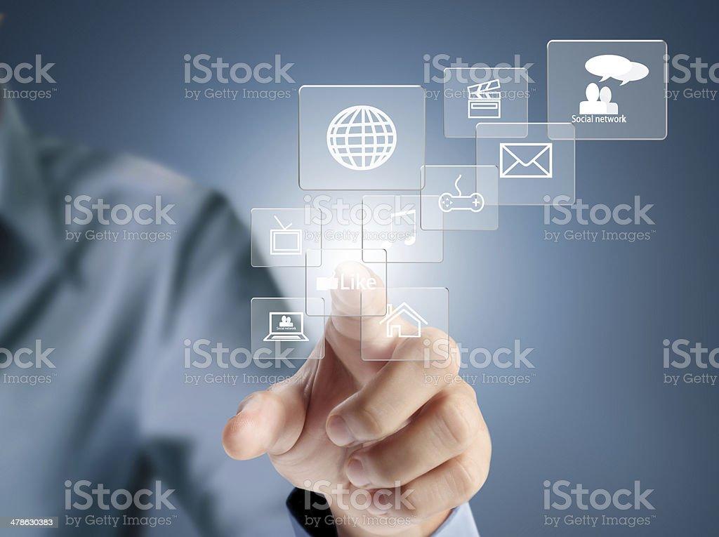 pressing modern social buttons stock photo