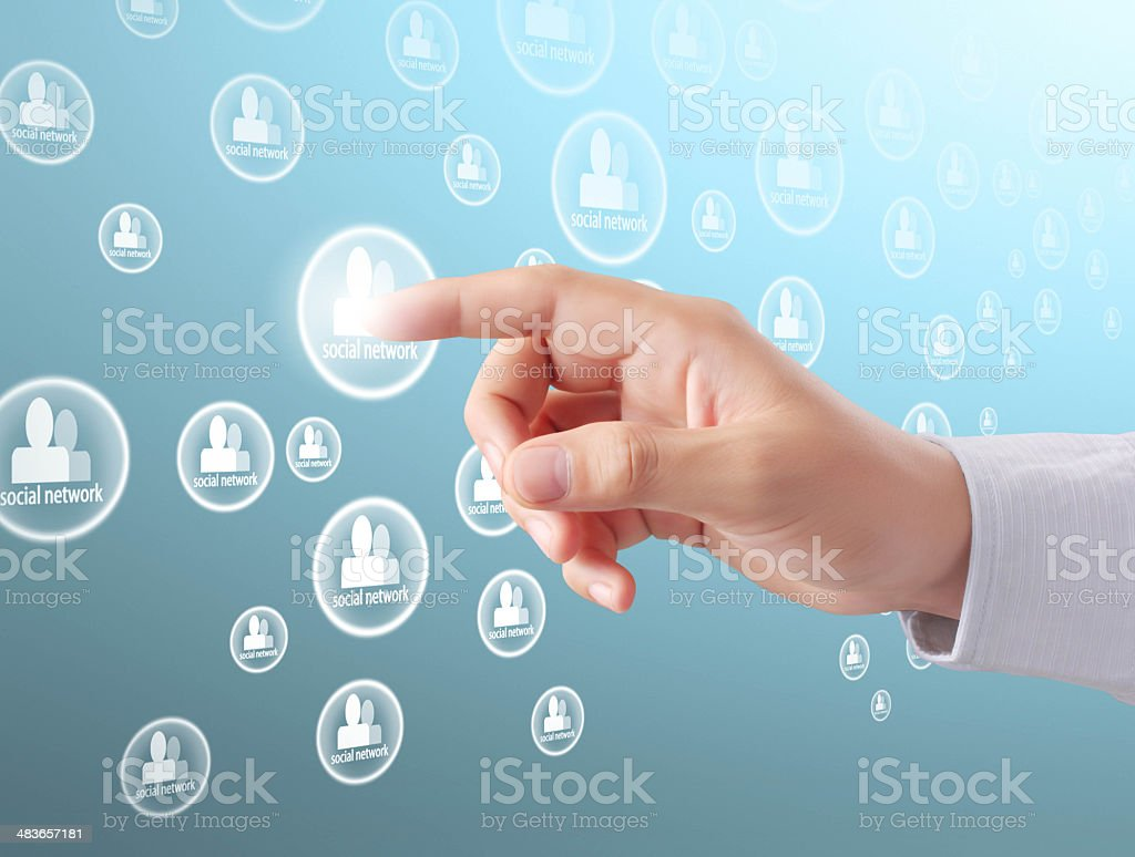 pressing modern social buttons royalty-free stock photo